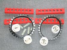 LEGO 2 x Black Caterpillar / Tank Tracks + 4 RED Technic Beams + 4 Wheels