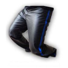 echt schwarzes Leder Panel Herren Polizei Stil Biker Jeans Hose (j2-blu
