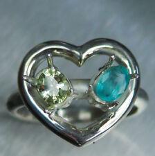 Natural Chrysoberyl & Emerald 925 silver 9ct 14k 18k Gold Platinum heart ring
