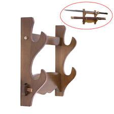 Wood Samurai Sword Katana Stand Holder Hanger Assembled Wall Mount Display Rack
