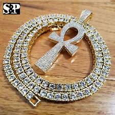 "New Hip Hop Ankh Pendant & 18"" Full Iced 1 ROW DIAMOND Tennis Choker Chain Set"