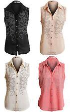 New Ladies Sleeveless Chiffon Floral Studded Pattern Women's Top