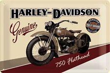 Harley Davidson Retro Blechschild Genuine 750 Flathead 20 x 30 cm neu