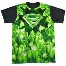 Superman Kryptonite Shield Mens Sublimation Black Back Shirt White