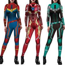 Women Captain Marvel 3D Cosplay Costume Jumpsuit Christmas Fancy Dress Bodysuit