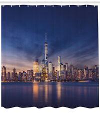 City Shower Curtain New York Skyline Evening Print for Bathroom