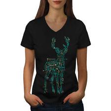Computer Graphic Animal Women V-Neck T-shirt NEW | Wellcoda