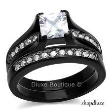 2.10 Ct Princess Cut CZ Black Stainless Steel Wedding Ring Set Women's Size 5-10