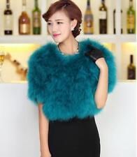 100%Real Ostrich Feather furry Fur coat jacket bolero hairy wedding bridal dress