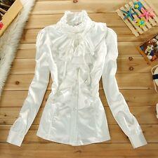 Women Ruffle Shirt Vintage Stand Collar Chiffon Button Slim Victorian Blouse Top