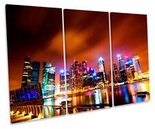 Singapore City Skyline Night Print CANVAS WALL ART Triple Panel