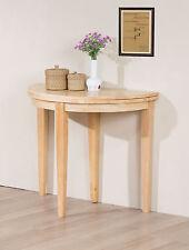 Side Hall Dining Table Round Folding Half Moon - Oak Natural Mahogany Finish