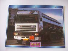 CARTE FICHE CAMION TRACTEUR CABINE AVANCEE DAF 95-350 SPACECAB 1987