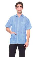 Mens Light Blue Guayabera Shirt Mojito 100% Linen with Four Pockets Size S - 2XL