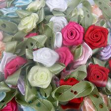 Tarjeta Toppers X 100 rosas de satén rosa Buds Rosebuds Boda Flores Decoración