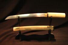 Japanese Hand Forged Folded Steel Shirasaya Dagger Sword Mokuzai Tanto +Silk Bag