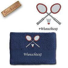 Handtuch Duschtuch Baumwolle bestickt Stickerei Badminton Federball 2 + Name