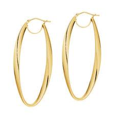 """Italian Oval Hoop Earrings 14K Yellow Gold ITALY 1 3/4"""""""