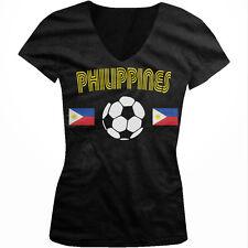 Philippines Soccer Ball Flag - Filipino Filipina Pride  Juniors V-neck T-shirt