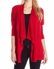 Karen Kane 3N94709 Red Sweater Knit Drape Front Jacket w/Pockets - MSRP $98