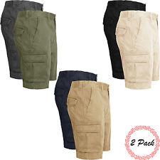New Mens 2 Pack Cargo Combat Chino Shorts Cotton Multi Pocket Half Work Bottoms