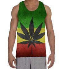 Cannabis Rasta Flag Men's All Over Vest Tank Top - Reggae Marijuana Stoner