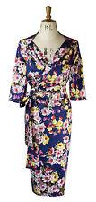 Baylis & Knight Blue Rose Bouquet fixed wrap sweetheart wiggle bombshell dress