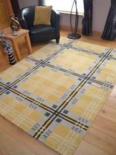 Small Extra Large Tartan Ochre Yellow Silver Floor Carpet Rug Hall Runners Cheap