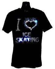 Para Niños I Love patinaje sobre hielo Pesado T Shirt Cristal Diseño Cualquier Tamaño