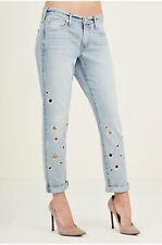 True Religion Women's Embellished Cameron Grommet Boyfriend Jeans in Cloud Nine