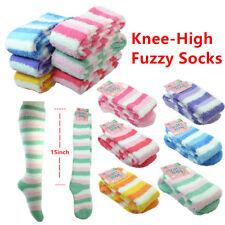 4~12pairs Women Strip Winter Socks Cozy Fuzzy Slipper Long Fleece Knee High Lot