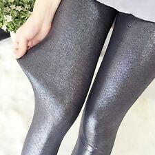 Lady Leather Trousers Thin Skinny Shiny Glitter Long Leggings Pencil Pants Jean