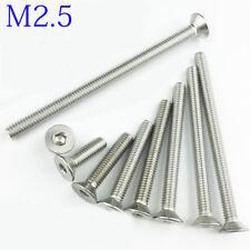 M2.5/2.5mm M2.5x0.45 DIN7991 Stainless Steel FLAT HEAD Socket Screws Countersunk