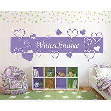 Wandtattoo Banner Name Herzen Kinder Wunschname Wunschtext Sticker Wandaufkleber