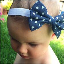 Miss ISABELLA - Newborn Baby Girls Oversized Denim Bow Stretch Headband