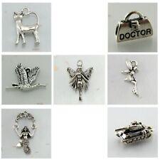 BULK 3D TibetanStyle Silver Charms CAT, DOCTOR BAG, DUCK, FAIRIES, MERMAID, TANK