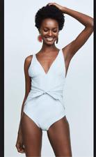 Shoshanna  Chambray Pinstripe One Piece Swimsuit 18CP7393 Denim/white size 4 NWT