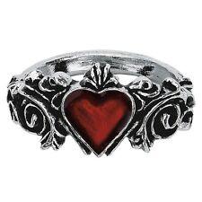 Oficial Alchemy Gothic Compromiso Corazón Rojo Peltre Anillo - Negro Plata Banda