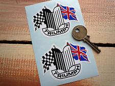 "TRIUMPH Crest & Flags Car STICKERS 3"" Pair Classic Herald GT6 Spitfire Standard"