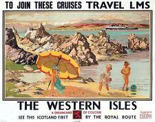 Vintage LMS Escocia Western Isles cruceros Ferrocarril cartel A3 impresión