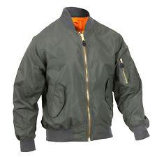 Men's Green Jacket Lightweight MA-1 Flight Military Bomber Style Rothco 6325