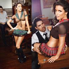 Women Girl Sexy Lingerie Student Uniform Cosplay Underwear Lace Hollow Dress Set