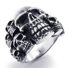 USA Seller Men's Silver Stainless Steel Skull Biker Ring Size 8-14 SR45
