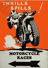 MOTORCYCLE RACE VINTAGE POSTER MOTORBIKE ADVERT Retro Biker PRINT Garage Mancave
