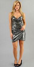 Hale Bob Sequin Cocktail Dress Wrap Sleeveless XS NWT 1GTZ6856 *