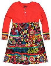 Girls Vibrant Floral Print Smock Dress New Kids Long Sleeved Dresses 2-7 Years