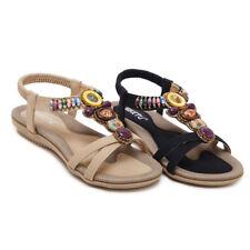 SIKETU Women Bohemian Beads Comfort Soft Beach Flat Summer Sandal Shoe