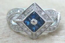"9ct ""9k White Gold Real Diamond & Natural Blue Sapphire"" Ring sz M - GIRL WOMEN"