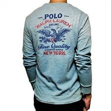 "Ralph Lauren Big & Tall ""Eagle USA"" Long Sleeves Pocket Shirt , Blue Teal"