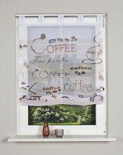 Voile-Raffrollo  LISKA, mit Schlaufen, transparent, Farbe braun